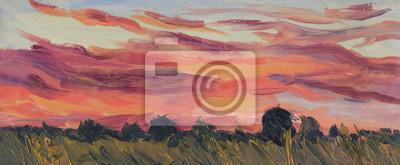 Bright summer sunset. Horizontal landscape. Oil painting