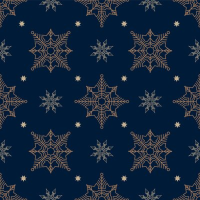 Bronze and white snowflakes in geometric order on dark blue background. Seamless pattern. Pattern for fabric, wrapping paper for Christmas gifts. Vector