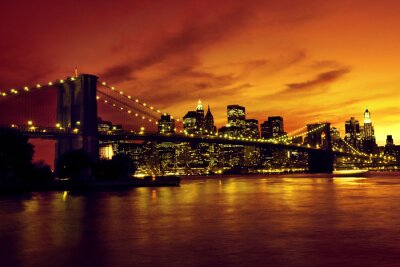 Canvas print Brooklyn Bridge and Manhattan at sunset, New York