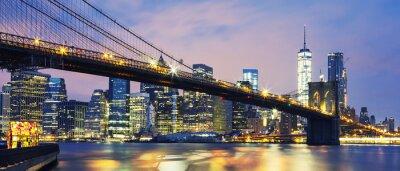 Canvas print Brooklyn Bridge at dusk