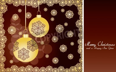 Brown christmas card with golden snowflakes and baubles, very beautiful greetings card,   illustration