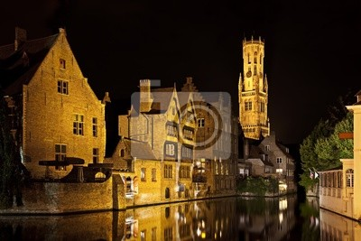 Canvas print Bruges canal at night, Belgium