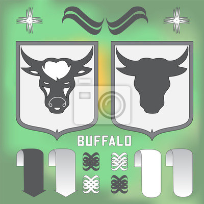 buffalo head on the blurred background-vector illustration