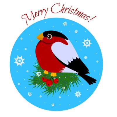 Bullfinch sitting on branch. Card with inscription merry Christm