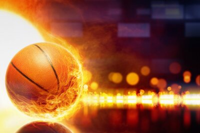 Canvas print Burning basketball