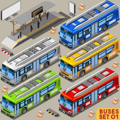 Canvas print Bus Set 01 Vehicle Isometric