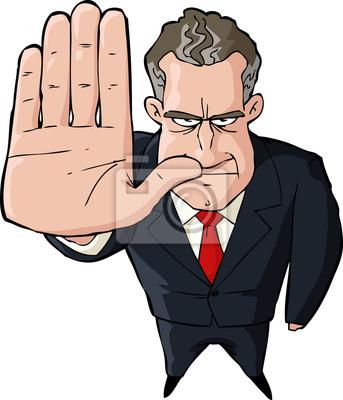 Businessman showing stop