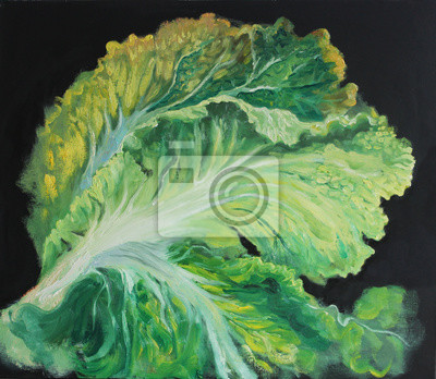 Cabbage, leaves of cabbage on black background, original oil painting on canvas