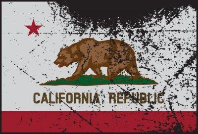 Canvas print California Flag Grunged