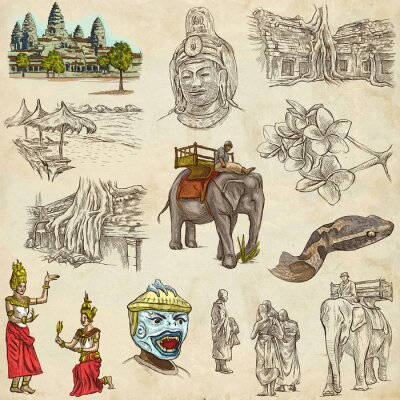 Canvas print Cambodia - An hand drawn illustrations. Frehand pack.
