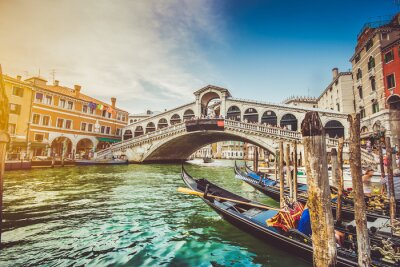 Canvas print Canal Grande with Rialto Bridge at sunset, Venice, Italy