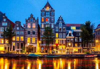Canvas print Canals of Amsterdam.