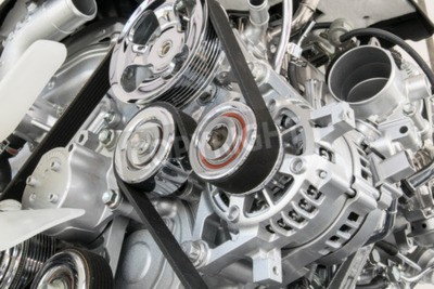 Canvas print Car engine closeup Part of car engine