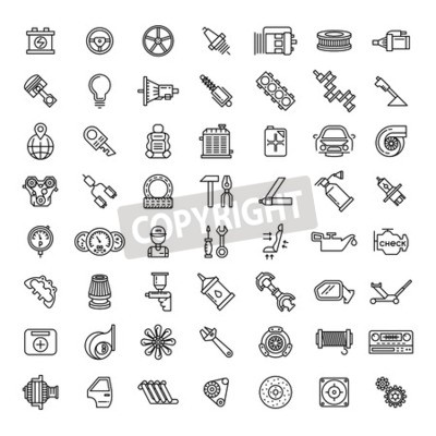 Canvas print Car parts line icons set. Auto service repair symbol, gear engine, spanner and filter, vector illustration