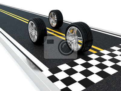 Canvas print Car wheel race