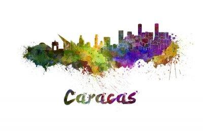 Canvas print Caracas skyline in watercolor