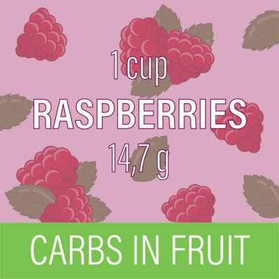 Carbs in fruit. Raspberry. Card for nutritionist. Designation of the amount of carbohydrates in grams. Vector