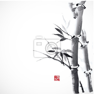 Card with bamboo and decorative red stamp. Traditional Japanese ink painting sumi-e.