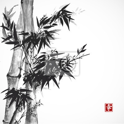 Card with bamboo in sumi-e style.