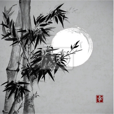 Canvas print Card with bamboo in sumi-e style.