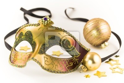 Canvas print Carnival mask and Christmas decorations
