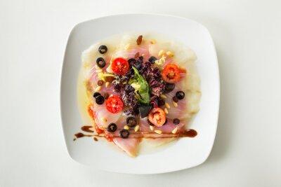 Canvas print Carpaccio cod salad