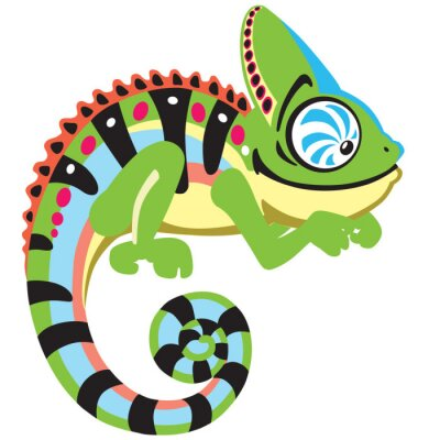 Canvas print cartoon chameleon lizard . Side view image isolated on white