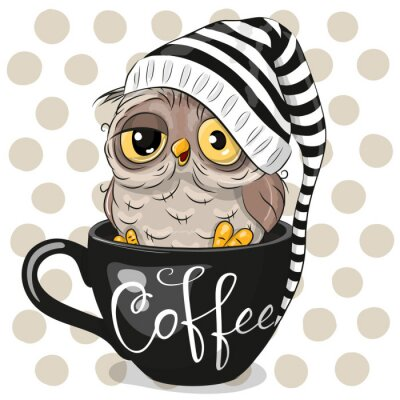 Canvas print Cartoon owl is sitting in a Cup of coffee