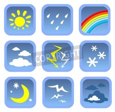 Cartoon weather symbols set on a white background.