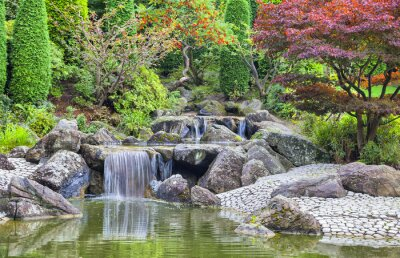 Canvas print Cascade waterfall in Japanese garden in Bonn
