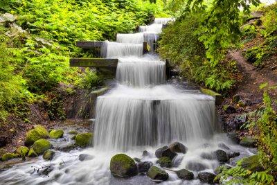 Canvas print Cascade waterfall in Planten un Blomen park in Hamburg
