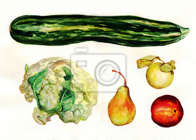 Cauliflower, pear, zucchini, Apple, peach. Fruit and vegetable set. Watercolor painting