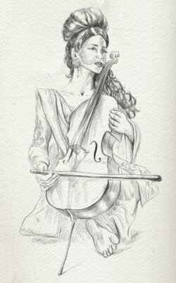 Canvas print Cello player. Freehand sketch. Full sized, orignal.