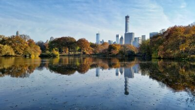 Canvas print Central Park fall landscape reflection in New York City
