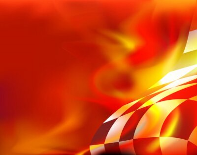 Canvas print checkered flag background and red flames