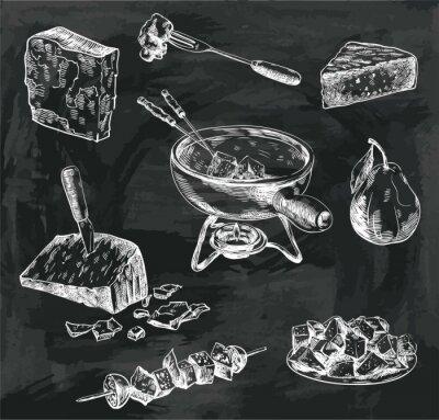 Canvas print cheese fondue sketches