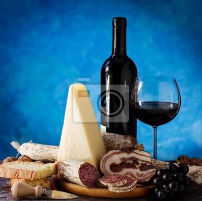 Cheese salami and wine