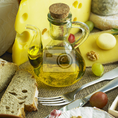 cheese still life with olive oil