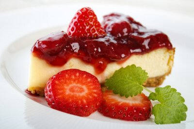 Canvas print Cheesecake with strawberry jam and strawberries
