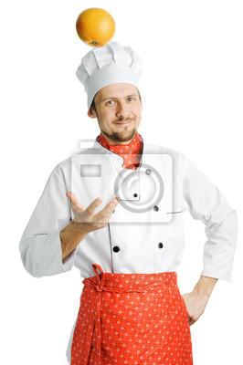Chef with orange