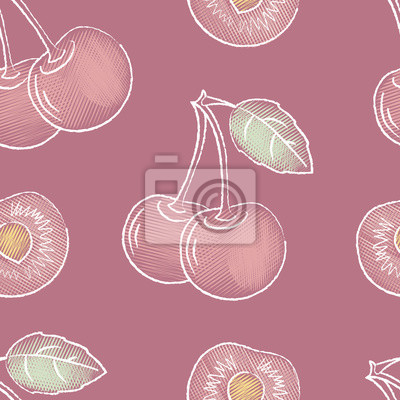 Cherries on the stalk. Seamless pattern