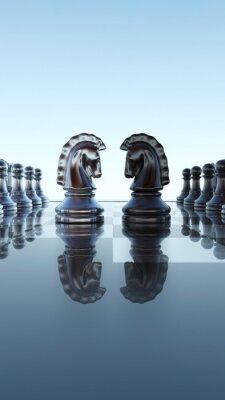 Canvas print Chessboard concept - Springer duel