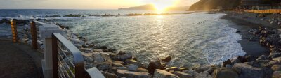 Canvas print Chiavari beach panoramic view