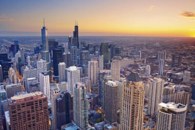 Canvas print Chicago. Aerial view of Chicago downtown at twilight from high above.