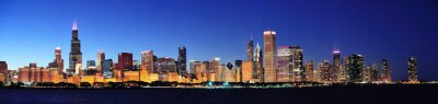 Canvas print Chicago night panorama