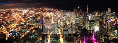 Canvas print Chicago Night view panorama