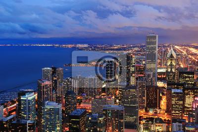 Chicago skyline panorama aerial view