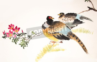 Canvas print Chinese ink painting bird and plant