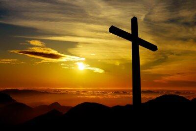 Canvas print Christian cross on sunset background