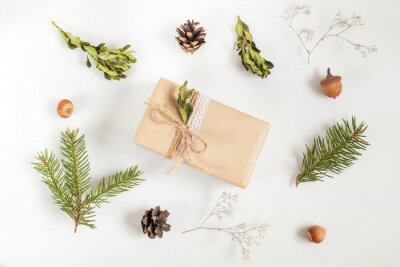 Christmas and New Year composition. Christmas gift, fir tree and buxus boxwood  branches, acorn, hazelnuts, cones and gypsophila flowers. Flat lay on white background, top view